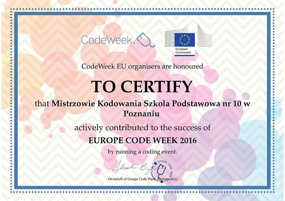 Certyfikat - Mistrzowie Kodowania