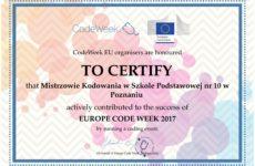 Więcej o: Certyfikat Code Week 2017