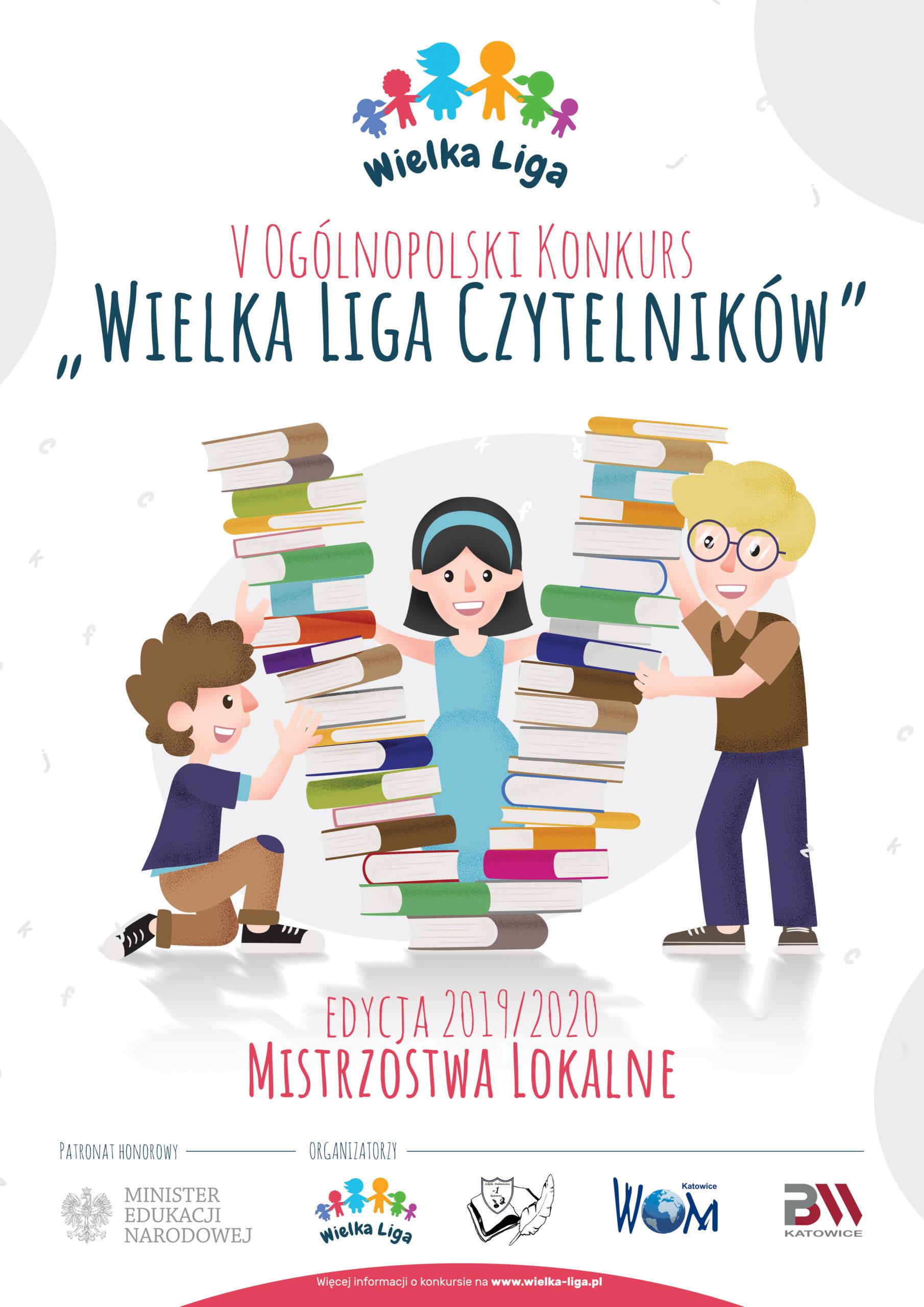 Plakat Wielka Liga Czytelników. Ilustracja. Troje dzieci trzymające stosy książek