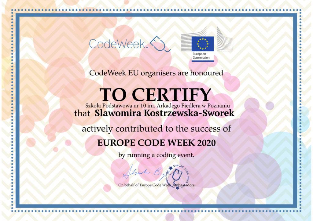 Certyfikat poświadczający pomoc pani Slawomiry Kostrzewskiej  Sworek przy zajeciach z kodowania