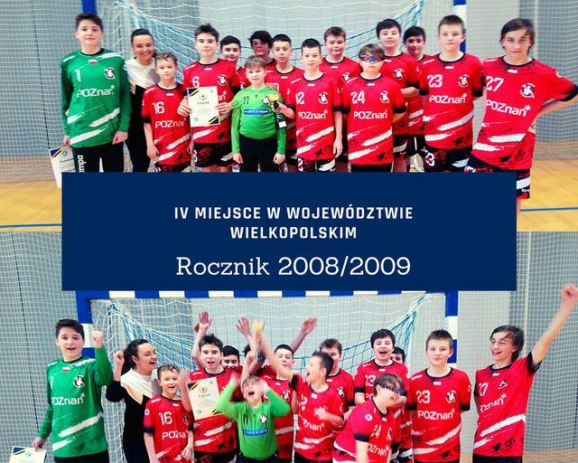 IV miejsce w województwie wielkopolskim naszych piłkarzy ręcznych rocznik 2008/2009.